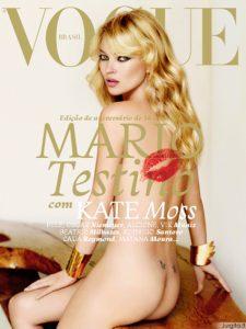 """Auksinė mergaitė Kate Moss - Nuoga """"Vogue"""" viršelyje"""